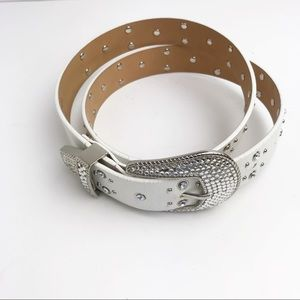 Ladies White & Silver Accent Belt by Casual Corner